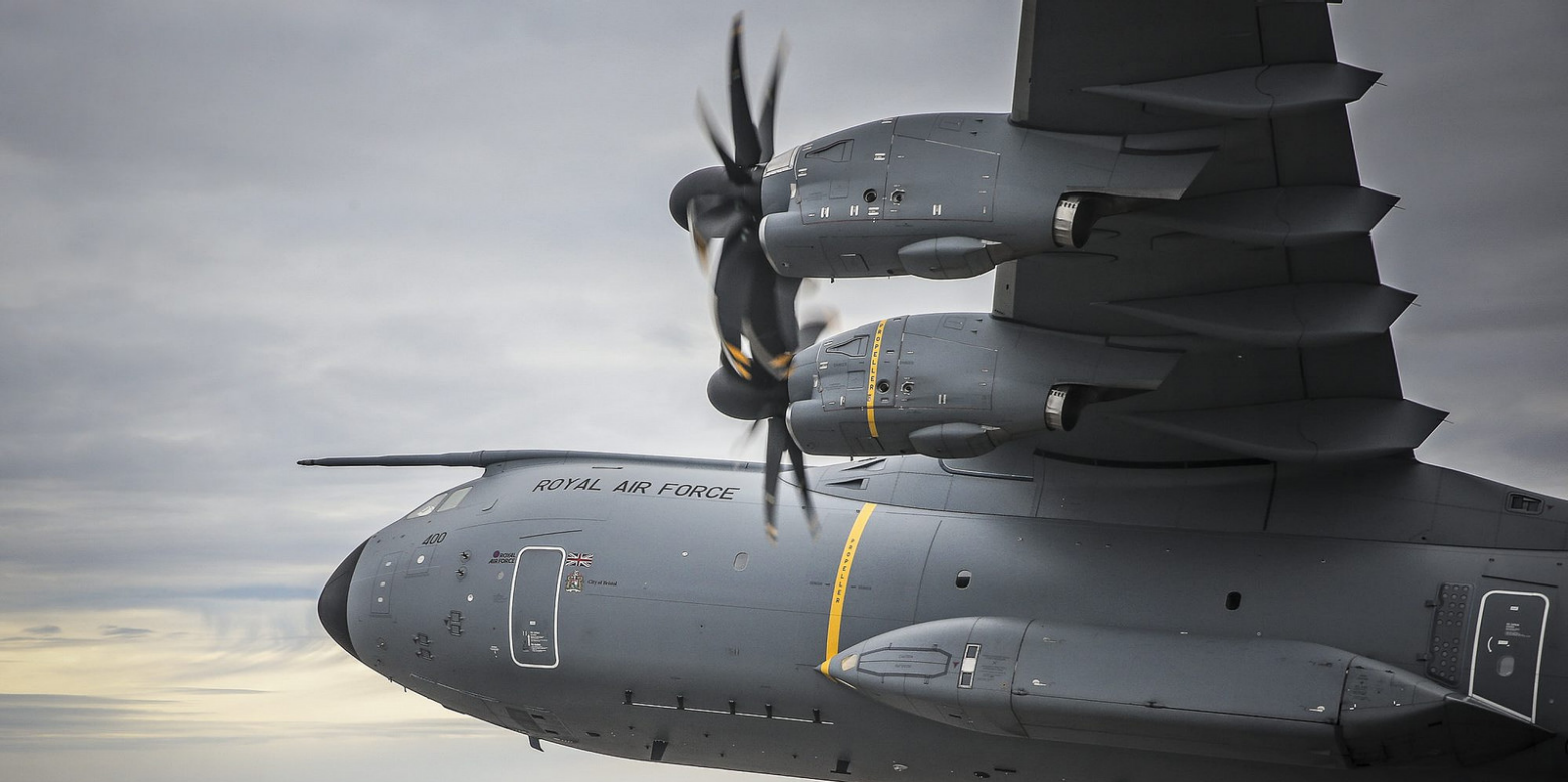 A Royal Air Force Atlas A400M transport aircraft flying over Bristol